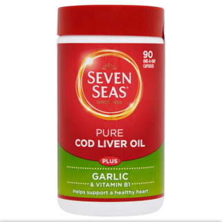 Seven Seas Pure Cod Liver Oil Plus Garlic 90 One a Day Capsules